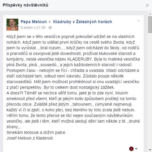 Příspěvek na facebook obce Kladruby v Železných horách